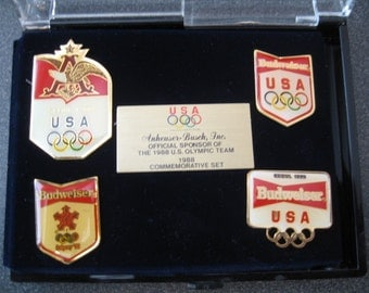 Vintage 1988 Anheuser Busch U.S. Olympic Team Commemorative Pin Set In Box