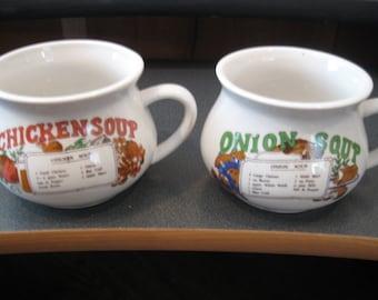 Vintage Porcelain Soup Mugs, Onion Soup & Chicken Soup-Set of Two