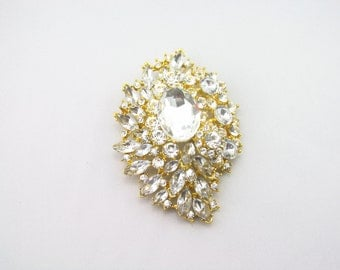 Gold Rhinestone Brooch / Large Bridal Brooch / Crystal Brooch Component / RBR-60 Gold