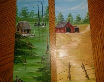 Ceiling fan blades hand painted with bayou, lighthouse, or old barn