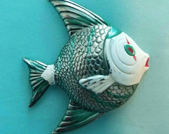 under the sea - fish brooch, vintage pin, enameled silver tone, quirky retro jewelry