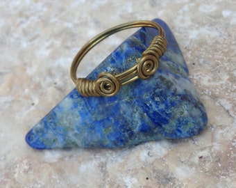 Roman ring, wire wrapped roman ring, ancient rome inspired brass ring, roman jewelry, midi ring, pinky ring