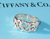 Vintage TIFFANY & Co Sterling Silver PALOMA PICASSO Loving Heart Openwork Ring 7.5 Couture Designer Fashion Statement Jewelry Valentine
