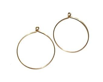4 Brass Ear Wire, Round Ear Wire, Hoops, Earring Drops, 54x44 mm