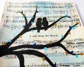 love birds on tree branch vintage sheet music art painting black with turquoise and gold leaves 8x10