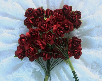 96 Dainty Paper Roses Red/Burgundy, paper flower, scrapbooking flowers, wedding red decorations, mulberry flowers, red mulberry roses