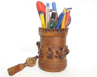 Vintage Bulgarian Leather Cup for Pens and Pencil