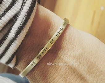 Skinny brass cuff - personalized cuff - coordinates cuff - sayings cuff - create your own saying - skinny brass bracelet - ny state of mind