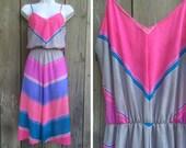 Vintage dress   1970s chevron striped disco full skirt sundress
