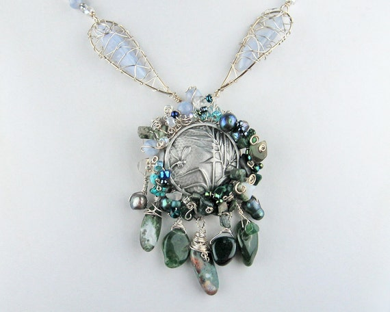Dragonfly Necklace, Lacy Wings, Mossy Creek, Blue Lace Agate, Blue Green, Semi Precious Stones, Freshwater Pearls, White Topaz, Dramatic