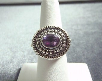 Sterling Silver Bali Style Amethyst Ring Sz 6 3/4 R234