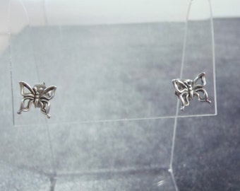 Sterling Silver Tiny Butterfly Pierced Earrings E39