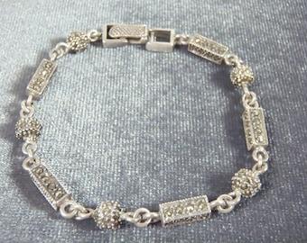 Sterling Silver Marcasite Bar Ball Bracelet B42