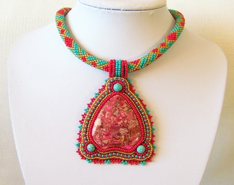 Bead Embroidery Statement Beadwork Pendant Necklace with Red sea sediment jasper - EGYPTIAN TREASURES - modern necklace