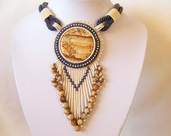 Statement Fringe Beadwork Bead Embroidery Necklace with Owyhee Picture Jasper - DESERT WIND - Fall Winter Fashion - Creamy beige, hematite