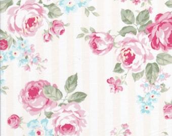 Rose Fabric - Stripe Fabric - White Fabric - Lecien Fabric - Princess Rose