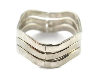 3  Silver .925 Bangle Bracelets Set 2.52 Oz