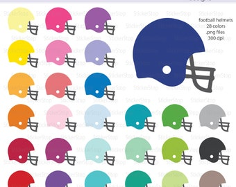 Football Helmet Icon Digital Clipart in Rainbow Colors - Instant download PNG files