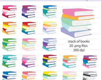 Stacks of Books Digital Clipart - Instant download PNG files
