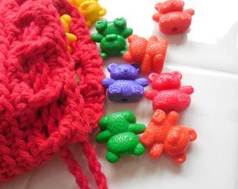 Rainbow Counting Bears Crocheted Cotton Drawstring Bag and 30 Counting Bears,Back to School 2016,homeschool teaching tool, Math Manipulative