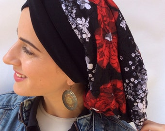 Lace snood, turban, head wrap