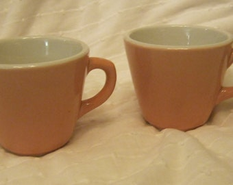 Shenango Pink and White Rimrol Welroc Restaurant Ware Coffee Cup Duo V16 Date Pristine 1950s