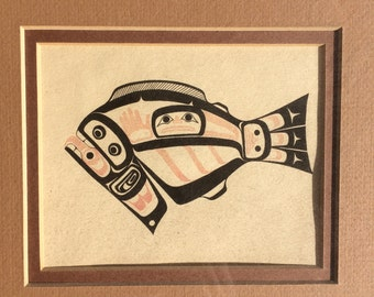 "Vintage Lithograph by Larry Rosso Pacific Northwest Native Tribal Art 11"" x12"" Framed"