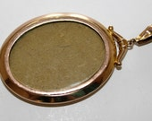 Antique Edwardian 9ct Gold Photo Picture Pendant (c1900s) - no chain FREE SHIPPING