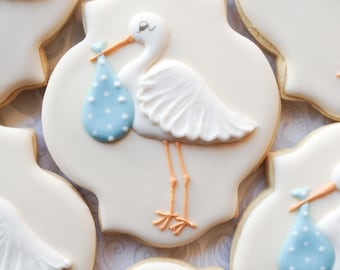 Elegant Pastel Stork Baby Shower Cookies - One Dozen  Decorated Sugar Cookies