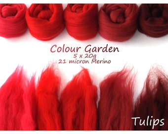 Red Merino Shade sets - 21 micron Merino wool - 100g - 3.5oz - 5 x 20g - Colour Garden - TULIPS