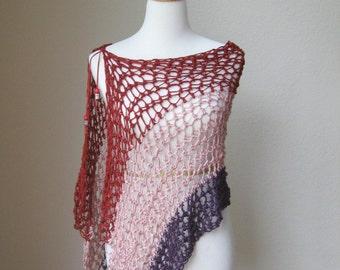Spring Summer Poncho, Wrap, Shawl, Red, Pink, Dark Purple Poncho, Cover Up, Handmade