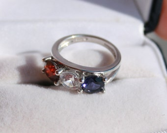 Garnet and Iolite Ring Patriotic Three Stone Ring Rhodium Plated Sterling Silver Size 5