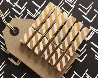 6 decorative clothes pegs - gold stripes, washi tape, wooden clothes pegs