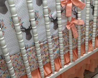 Girl Crib Bedding in Peach and Aqua Stag fabric, Modern, Metallic, Stripe, girl bedding, shower gift