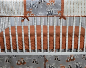 Oh Hello Neutral Crib Bedding in Brown and Gray. Modern, Arrow, shower gift, rail cover, girl, boy