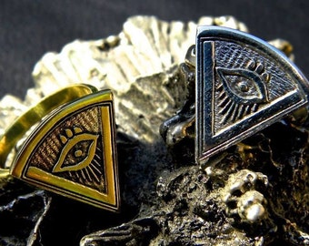 Pharoah Ring, brass ring, tribal ring, illuminati ring, third eye, triangle ring, geometric ring, evil eye ring