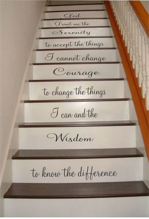 Serenity prayer stair riser decals stair decals grant me - Stickers contremarche escalier ...
