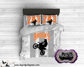 Custom Design and Personalized Motocross Theme Bedding  (Monogrammed or Personalized by Sublimation Printing)