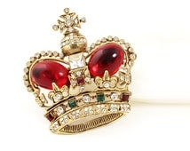 Crown Brooch // Deep Red Rhinestones // 1950s to 1960s // Imperial Royal Crown // Red Jelly Belly Cabs // Crown Pin
