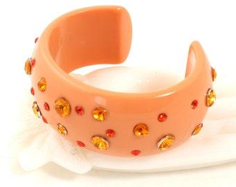 MOD Plastic Cuff // 1960s to 1970s // Vintage Cuff // Orange Rhinestones // Orange Bracelet // Costume Jewelry // Gold Rhinestones