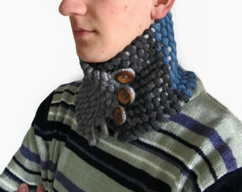 Knitted Mens Scarf, Cowl Neckwarmer, Mens Chunky Scarf, woven scarf, Gift for Her and Him, Button Scarf, Winter, Fashion OOAK