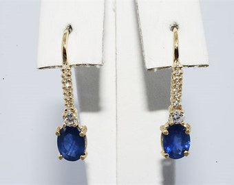 1.76CT Natural Blue Sapphire diamond dangle Earrings 14K YG