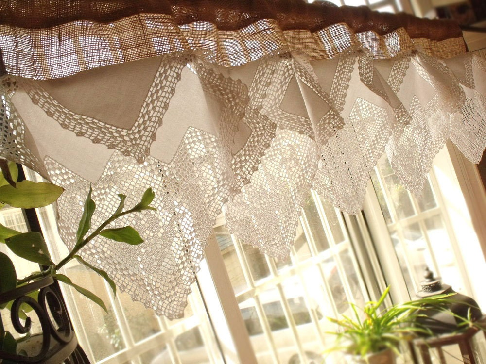 54 Roses Antique French Lace Valance Burlap Or Linen