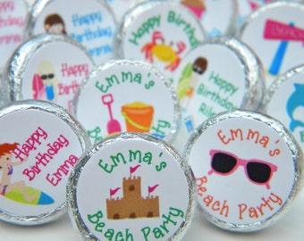 Birthday Favors - Beach Hershey Kiss Stickers - Personalized Birthday Favors - Birthday Favors - Beach Party Kisses - Beach Party Decor
