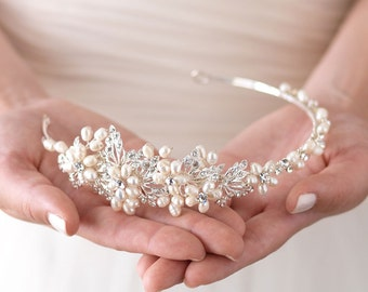 Floral Bridal Headband, Freshwater Pearl Wedding Headband, Rhinestone & Pearl Wedding Headband, Side Headband, Floral Side Headband ~TI-3170