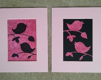 A Set of Two Pink Framing Mats with Birds on Branches
