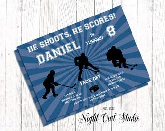 Hockey Birthday Invitation-Hockey Party Invite-Hockey Invitation-Ice Hockey-Hockey Time-Hockey