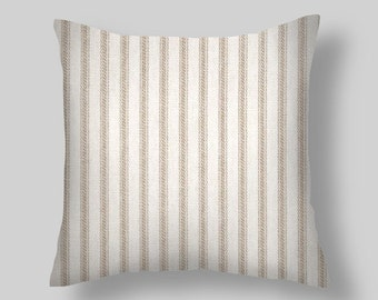 "Pillows, Decorative Pillows, Throw Pillow,""  Ticking Stripe  ""  PILLOW COVERS ,Decorative Throw Pillows, Pillow Covers,Beach Decor, Wedding,"
