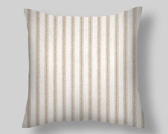 """Pillows, Decorative Pillows, Throw Pillow,""""  Ticking Stripe  """"  PILLOW COVERS ,Decorative Throw Pillows, Pillow Covers,Beach Decor, Wedding,"""