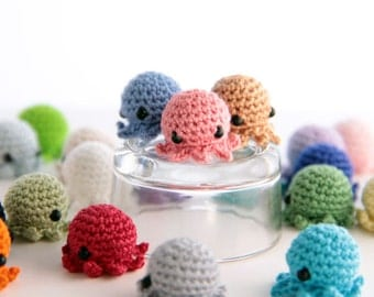 MiniPus (Solid Colors) - Miniature Octopus Amigurumi Doll Plush with Optional Key Chain or Phone Charm Attachment